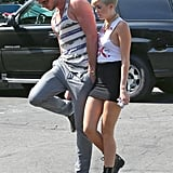 Miley Cyrus and Liam Hemsworth went grocery shopping together in LA.