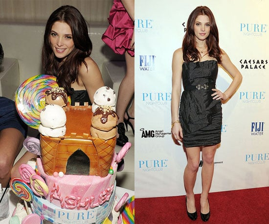 "Ashley Greene had an early birthday party in Las Vegas on Saturday night. She turned 24 yesterday, but took advantage of the weekend to meet up with friends at Pure. Ashley's boyfriend, Joe Jonas, was there for the candy-themed bash, where Ashley showed off the Chanel bracelet he gave her. She shared her excitement over her cake on Twitter and thanked fans for the ""love and birthday wishes,"" and it seems Joe got some of her gratitude at the party as well. Ashley's on hiatus from filming Breaking Dawn, as is her co-star Kristen Stewart, who just returned to California sporting a headline-making wrist spint. Ashley's not the only Twilight star to celebrate a February birthday, since Taylor Lautner turned 19 earlier this month."