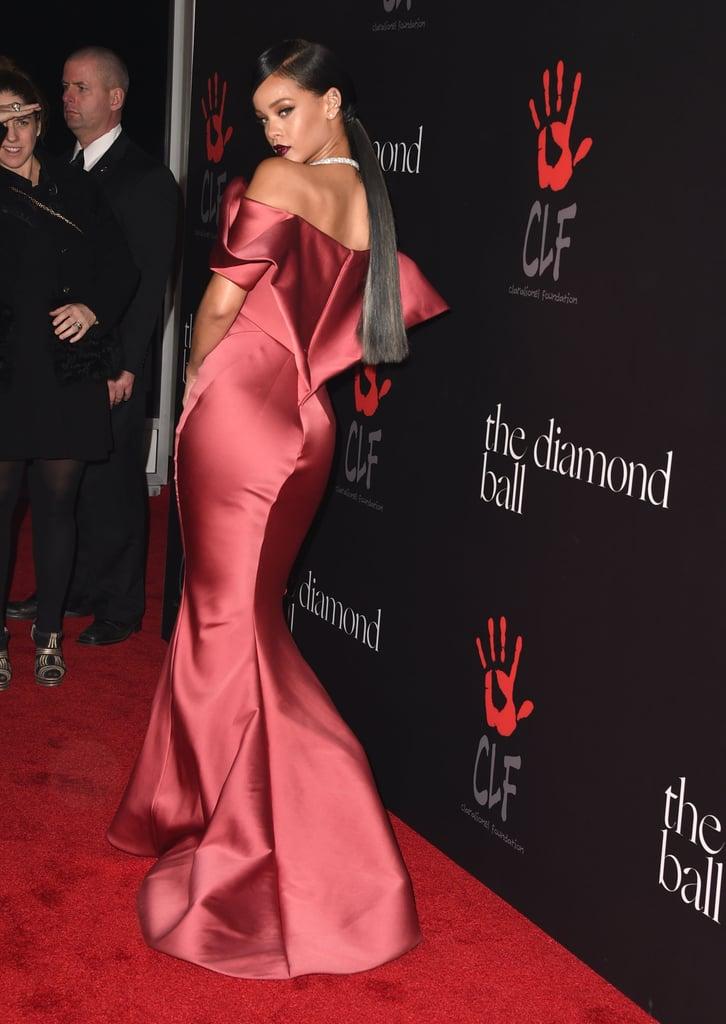 Rihanna wore a Zac Posen gown.