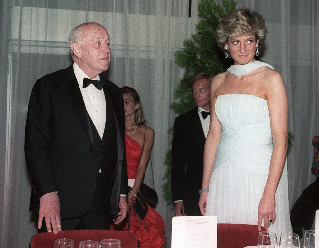 Alec Guinness and Princess Diana got together at a gala dinner during the 40th Cannes Film Festival in 1987.