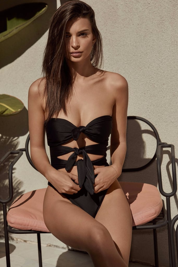Emily Ratajkowski Black Bow One-Piece Swimsuit