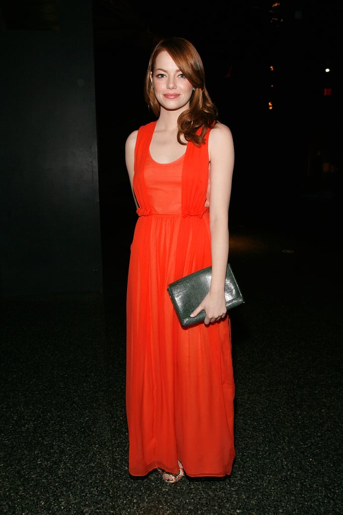 The red-haired starlet chose a fiery coral Carven dress and Tabitha Simmons snakeskin heels for the 2011 American Museum of Natural History gala.