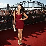 Ricki-Lee Coulter's dress malfunction saw her donning a maroon Herve Leger bandage dress instead of a planned Alex Perry number.