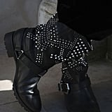 Stud and rhinestone details added interest to a pair of tough biker boots.