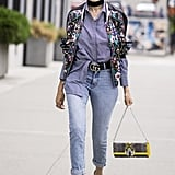 Turn a Work Staple Trendy With a Choker, Bomber, Loafers, and Colorful Shades