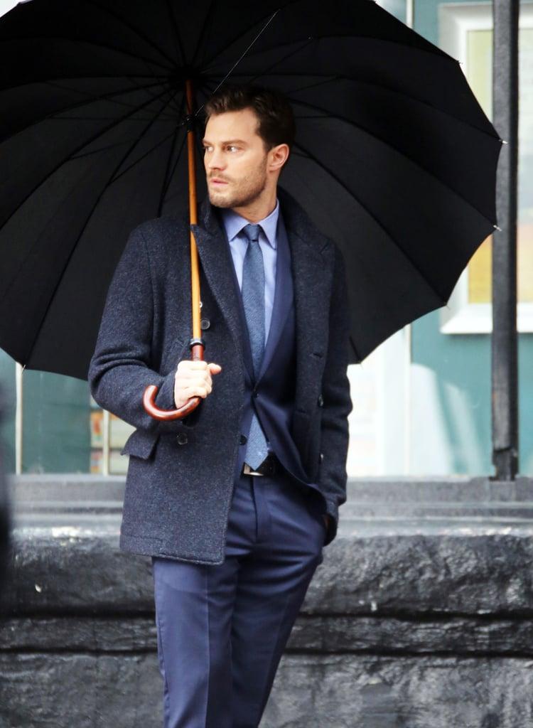 Holding An Umbrella Jamie Dornan Hot Candid Photos