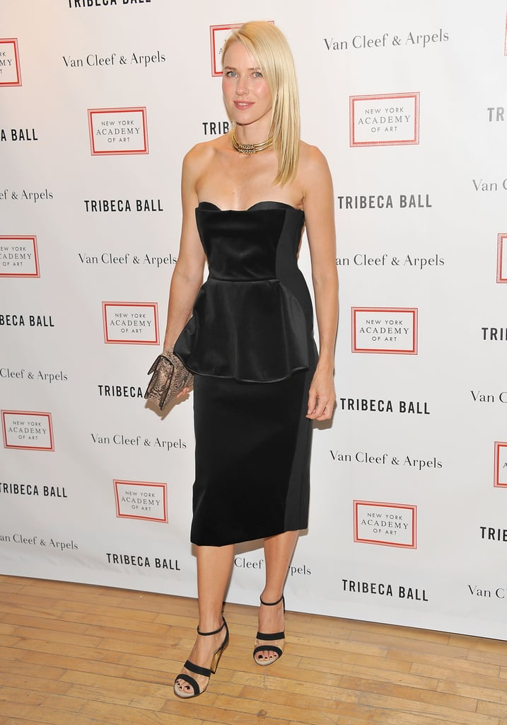 Naomi Watts looking stunning in a Stella McCartney peplum number at the Tribeca Ball in NYC.