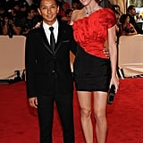 Prabal Gurung and Hilary Rhoda in his design