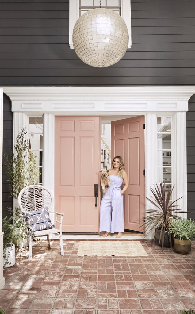 """Although Hilary never really considered herself a girlie girl in the traditional sense, her front door tells a different story. """"I've never seen myself as girlie, and I don't own much pink, even though I love it."""""""