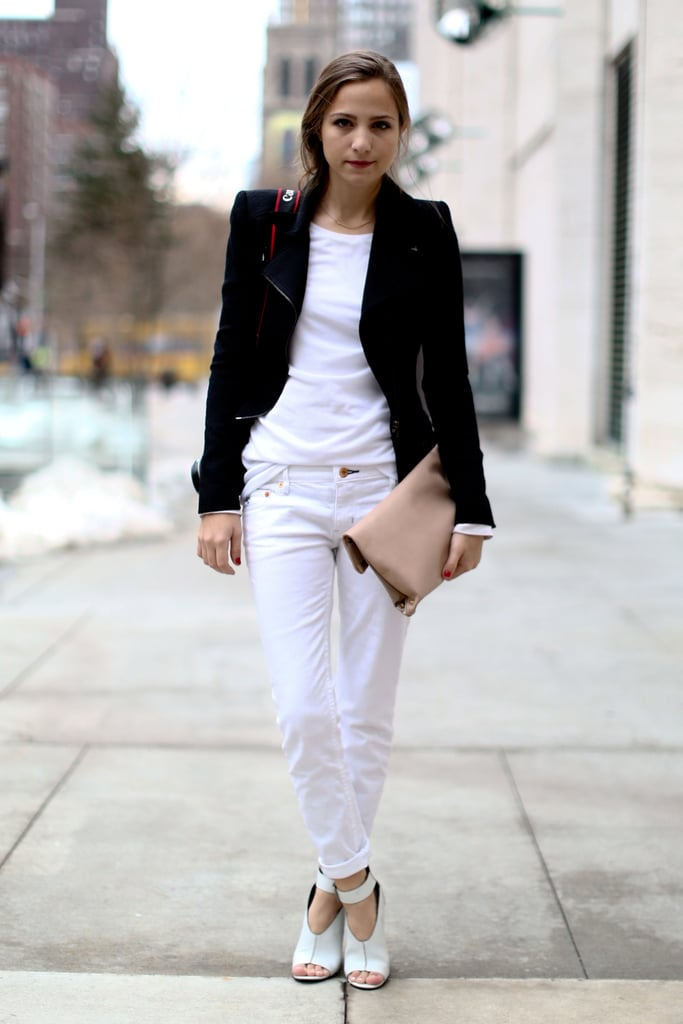 Crisp white denim, heels, and a tee got a classic finish with an understated blazer.