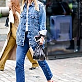 Skip the blazer and top jeans and heels with an oversize denim jacket.
