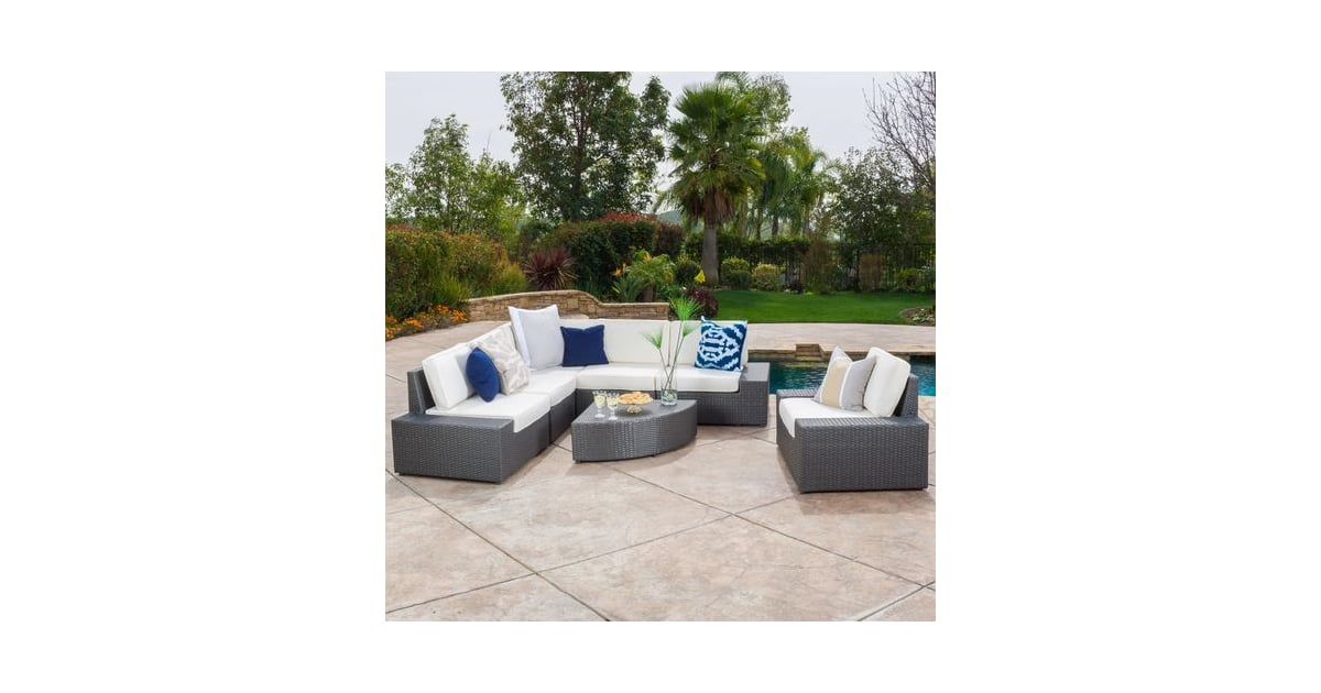Cabo 7-Piece Gray Wicker Sofa Set With White Cushions ...