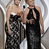 Golden Globes hosts Tina Fey and Amy Poehler got pretend-drunk during the show after they both lost for best actress in a TV show, comedy or musical.