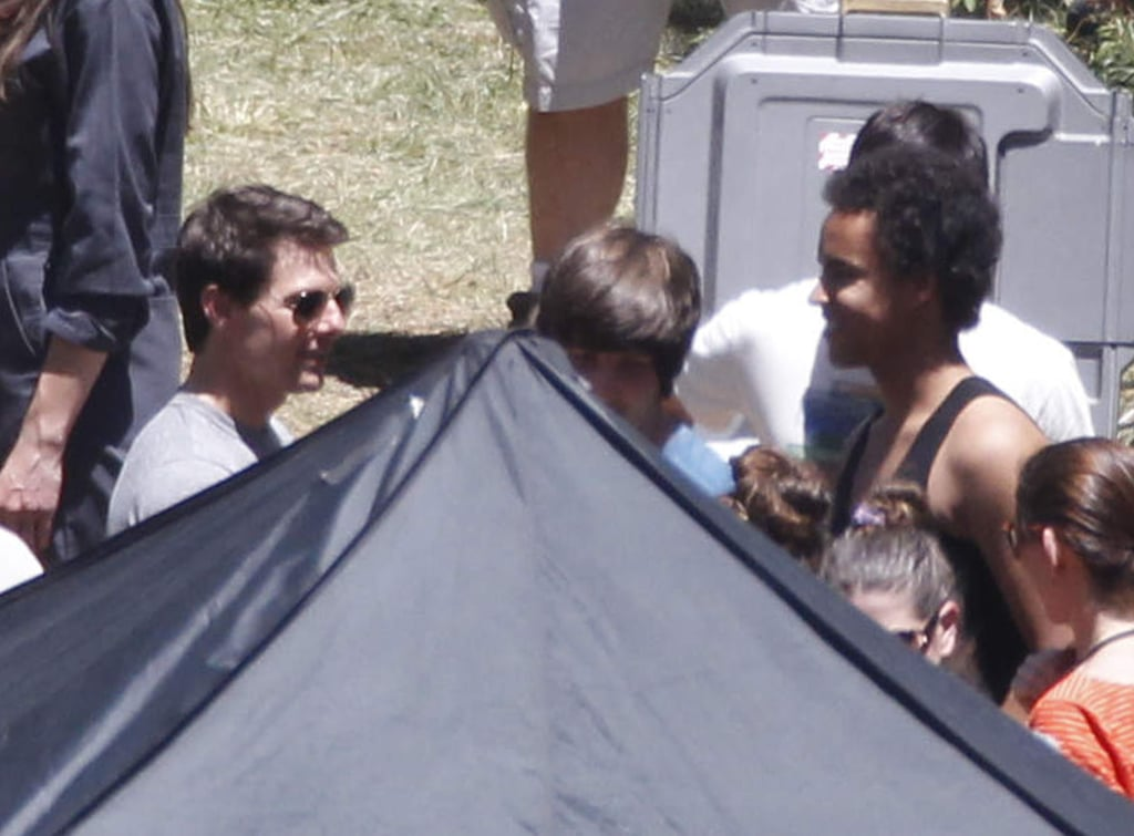 Tom Cruise was back on the set of Oblivion in Mammoth Lakes, CA, yesterday. He's been hard at work on the film since settling his divorce from Katie Holmes this Monday. It looks like he's been in good spirits despite the family drama and was even seen smiling and laughing with colleagues in recent days. Tom got another boost during production when his son, Connor, stopped by to visit him between takes. Katie Holmes, meanwhile, has had her mom, Kathleen, and Suri by her side on the East Coast. Katie, Kathleen, and Suri stopped by the Central Park Zoo just yesterday and were likewise looking happy as they checked out the animals.