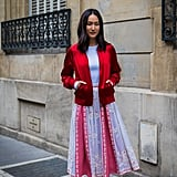 Wear a Bomber Jacket With a Pleated Skirt
