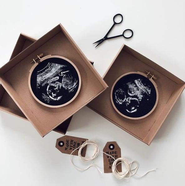 Custom hand embroidered ultrasound Custom ultrasound embroidery Personalized Embroidered ultrasound. Custom sonogram embroidery