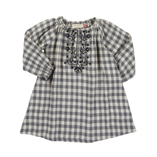 Embroidery detailing and a hint of sparkle give some girlie flair to this gray flannel dress ($61-$65).