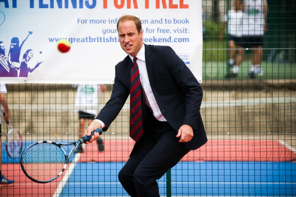 William showed off his swing when he played tennis during an official visit to the Coventry War Memorial Park in July 2014.