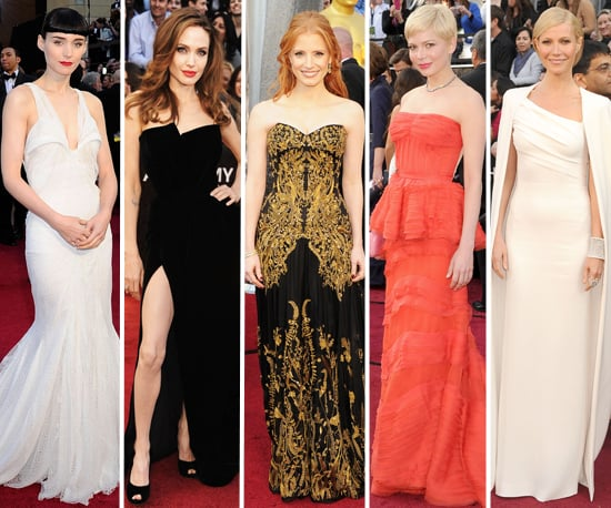 Best Dressed Celebrities at the 2012 Oscars: Rooney Mara, Gwyneth Paltrow, Angelina Jolie, Jessica Chastain & Michelle Williams