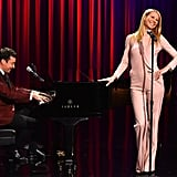Gwyneth Paltrow hit the high notes on The Tonight Show Starring Jimmy Fallon in NYC on Wednesday.