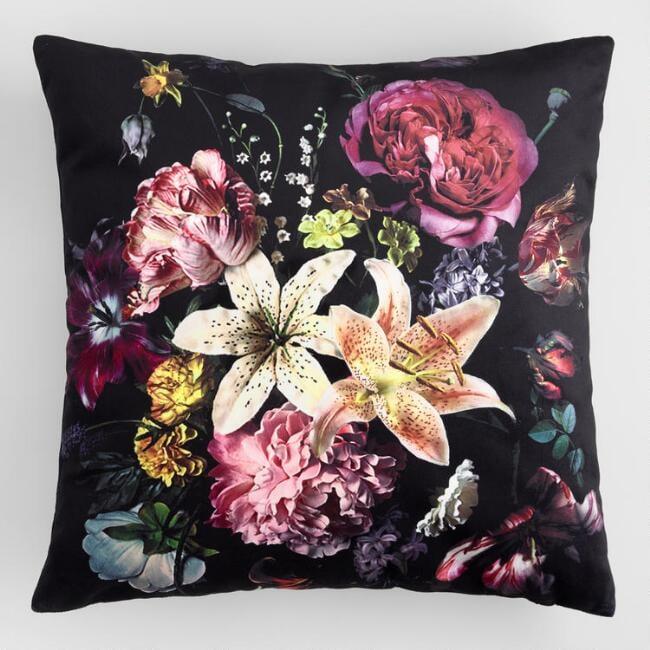 Black Floral Bouquet Velvet Throw Pillow