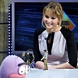 Jennifer Lawrence had a chat with a puppet on the El Hormiguero show.