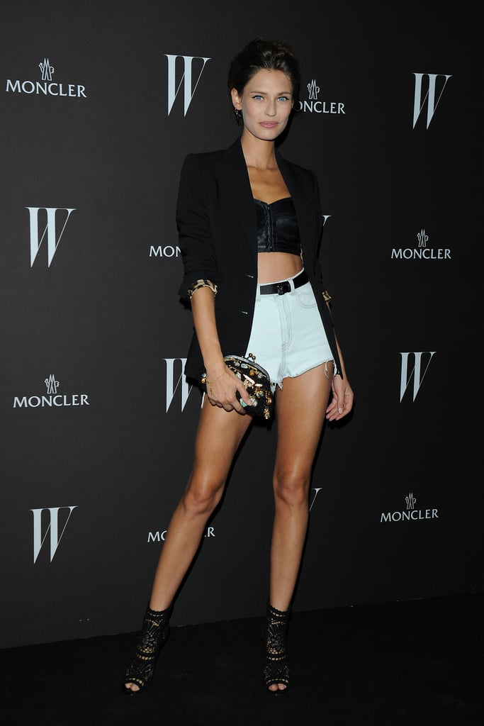Bianca Balti went for a seriously hot look in cutoffs, a bustier, and laser-cut, open-toe booties at W's dance party in Milan.