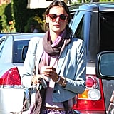 Alessandra Ambrosio's colorful printed sunglasses meshed perfectly with her paisley print Ella Moss pants in LA. Wear these Matthew Williamson printed sunglasses (£248) to ensure Summer fun.