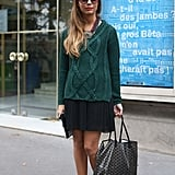 This rich, hunter-green knit gave a pleated mini and booties a perfect Fall feel.