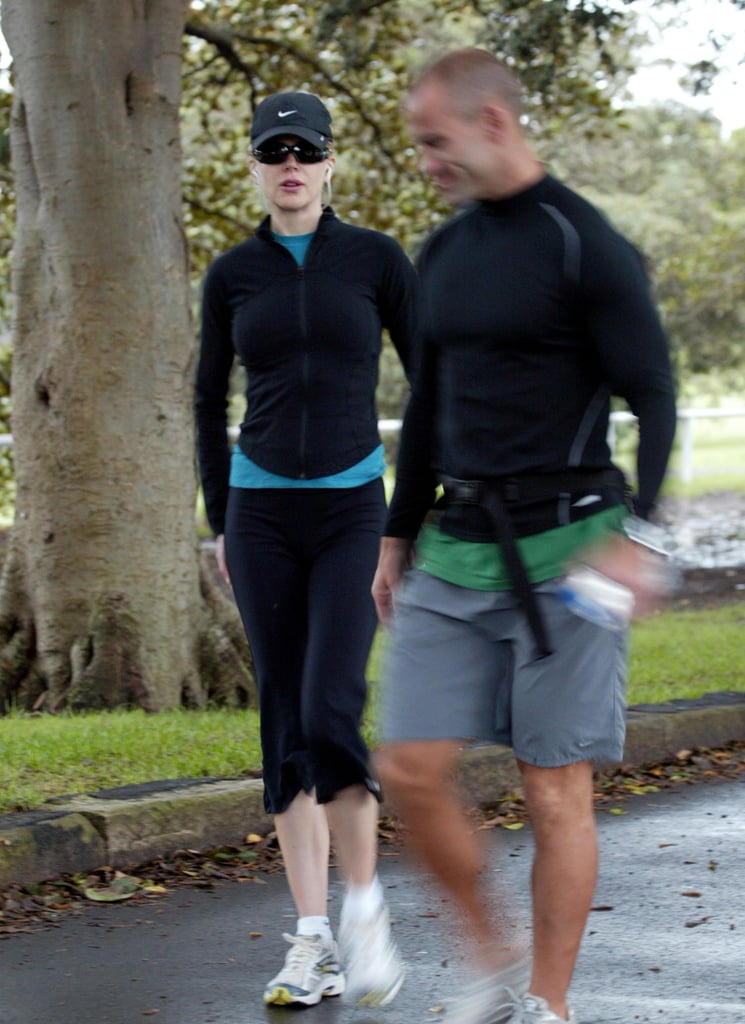 Known for her lean frame, Nicole Kidman was not going to let nine months of pregnancy keep her from exercising. She was often seen leaving spin classes and jogging with a trainer outside.