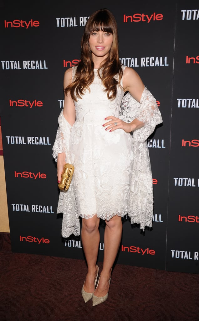 Jessica Biel continued her string of recent glamorous appearances at the NYC premiere of Total Recall last night. She chose a white lace Elie Saab Couture look for the red carpet, after donning pink Christian Dior Couture for the LA debut on Wednesday. Jessica was joined by her costar Kate Beckinsale for the West Coast screening, and the duo chatted with us on their way into the movie. They talked about their badass roles and joked that Jessica would win in a fight against Kate.  Kate had her husband and the film's director, Len Wiseman, by her side for the big event, though Jessica was without fiancé Justin Timberlake. He's currently filming Runner, Runner in Puerto Rico with Ben Affleck. Justin and Ben have both taken breaks from work to show off their shirtless physiques on the Caribbean beaches — make sure to vote for them and your other favorites in our 2012 Shirtless Bracket!