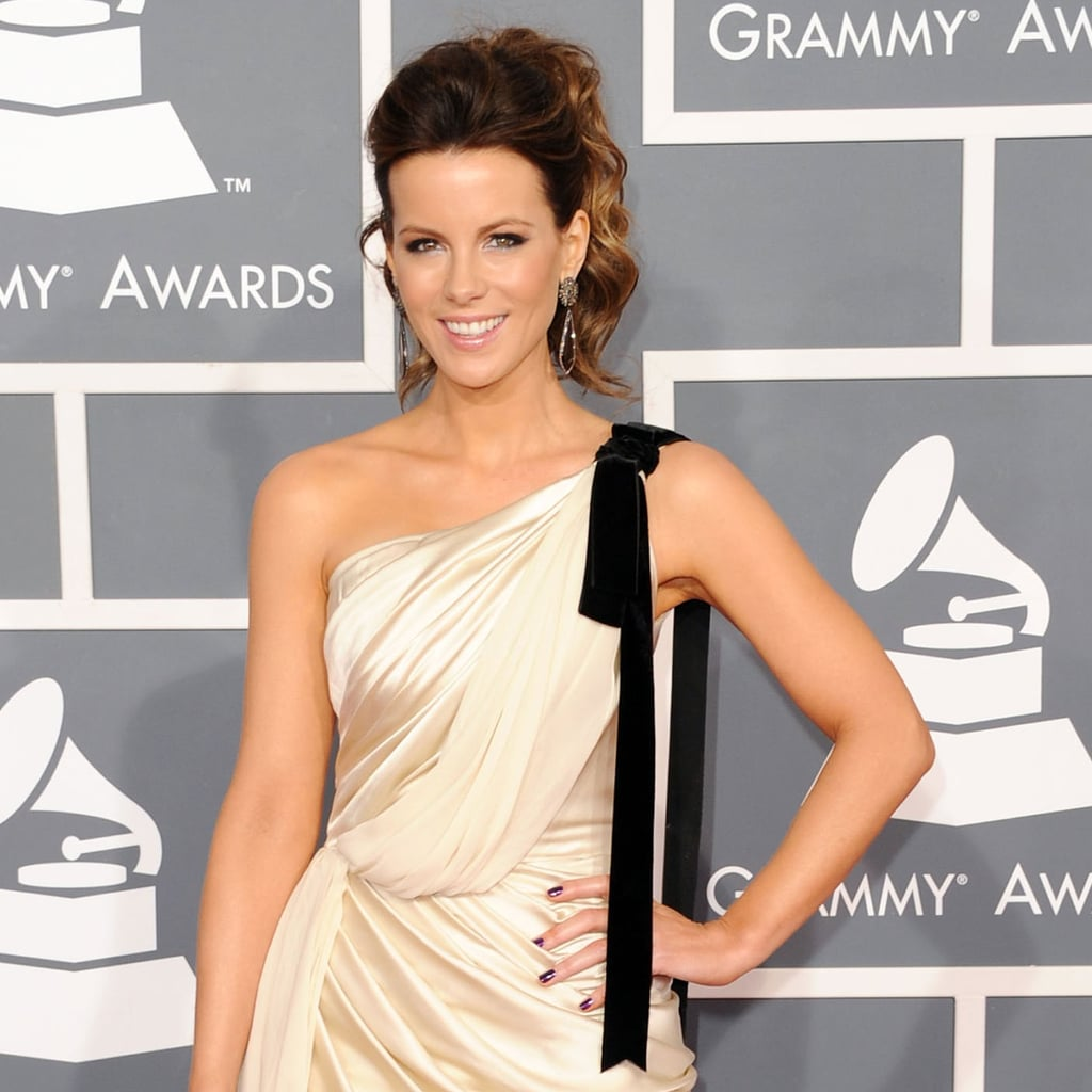 Kate Beckinsale in a black-and-white dress at the Grammys.