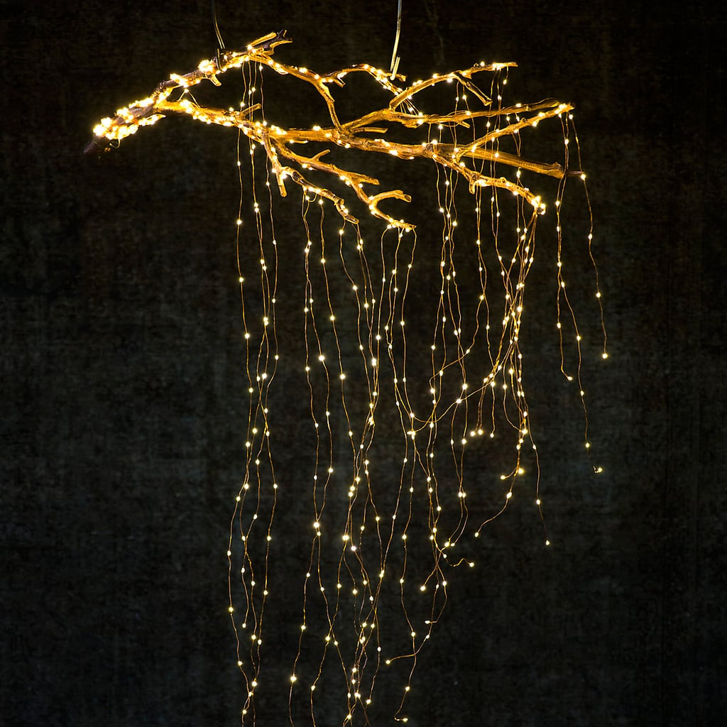 create a cascade of lights from a suspended branch - Christmas Tree Branch Decorations