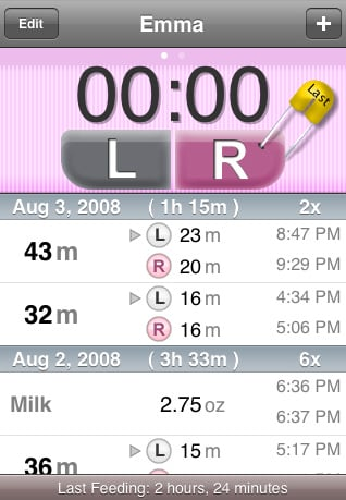 Track Your Nursing Schedule on Your iPhone or iPod