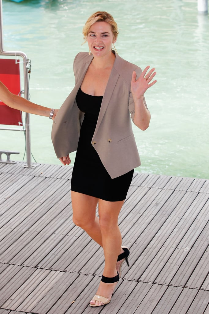 Kate Winslet in a black dress at the Venice Film Festival for Carnage.