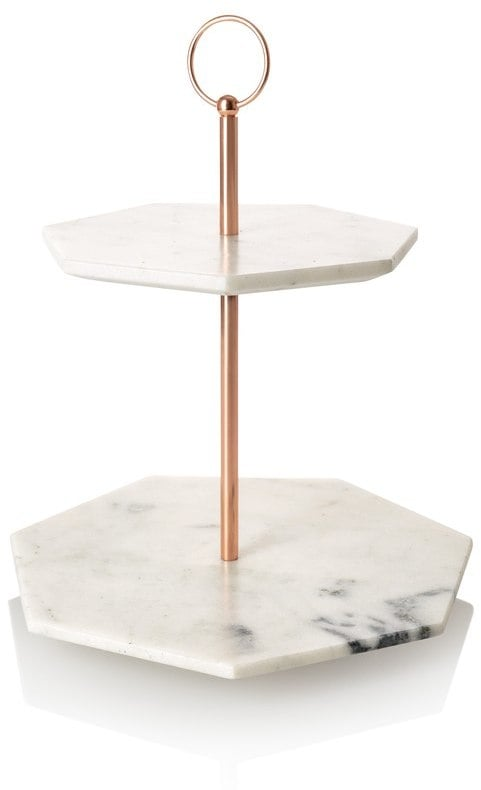58f6b13eb Oliver Bonas Double Tiered Marble Cake Stand | Copper Home ...