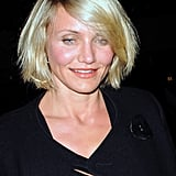 Cameron Diaz wore her short blond locks down for the night out in NYC.