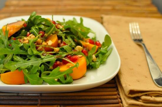 Fall Salad Recipe With Arugula, Persimmons, and Pomegranates