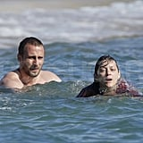 Marion Cotillard swims in France.