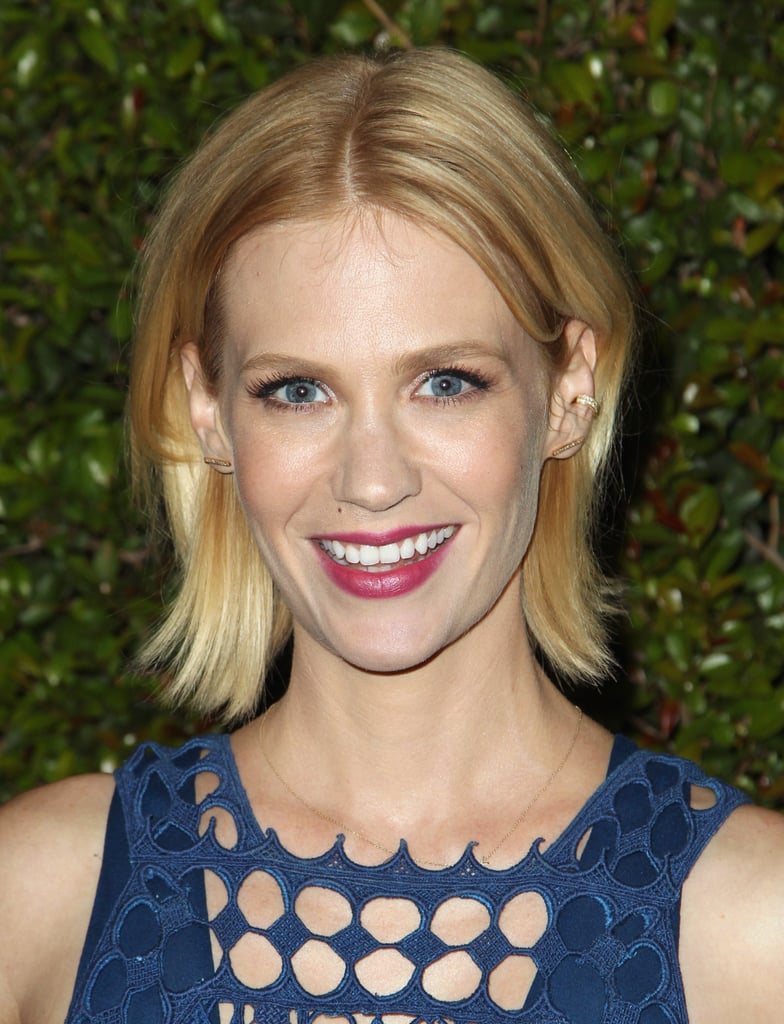 The highlight of January Jones's beauty look was her punchy pink lip color, which set off both her blue eyes and cerulean dress.