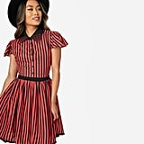 Sourpuss Red Orange and Black Stripe Spiderweb Lydia Fit and Flare Dress