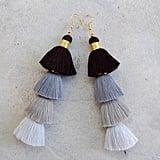 Four-Tiered Ombre Grey Tassel Earrings