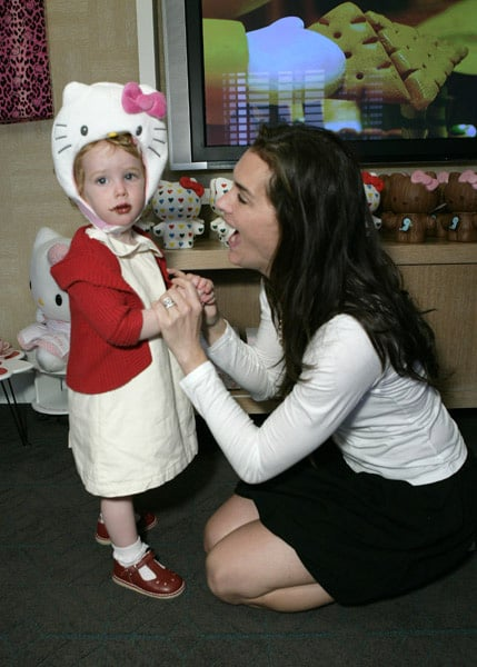 Brooke Shields and Grier attended the Hello Kitty Suite where she tried Hello Kitty on for size.