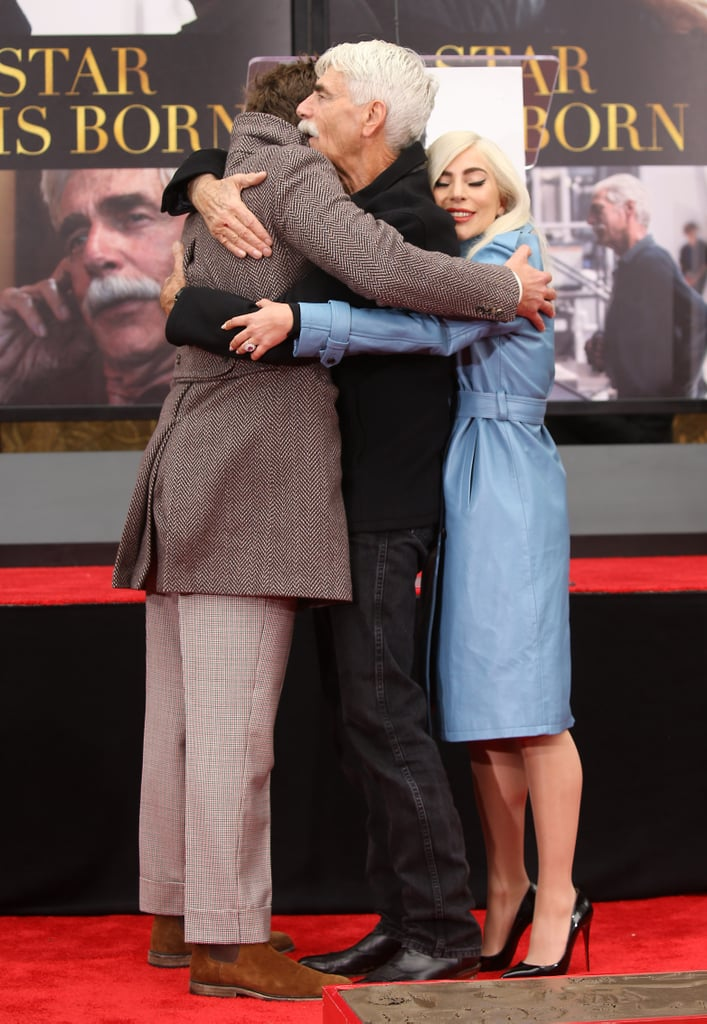 "Fresh off their night at the Golden Globes, Lady Gaga and Bradley Cooper were front and centre at Sam Elliott's hand and footprint ceremony in Hollywood on Monday afternoon. The trio — who all worked together on A Star Is Born — proved that their bond goes far beyond the big screen as they hugged and Gaga and Bradley proudly cheered Sam on.  During the ceremony, Bradley took the stage and gave a heartfelt speech, referring to Sam as ""one of the most talented, generous, humble actors"" he's ever worked with. ""Acting alongside him was a dream fulfiled for me,"" Bradley said. ""Directing Sam was and will remain one of the highest points of my career."" Gaga also shared photos from the event on her Instagram stories, including one of her receiving a kiss from Sam on her forehead. ""So excited to be here for Sam Elliott's hand and footprint ceremony,"" she wrote.  In the fourth remake of the iconic A Star Is Born film — which Bradley directed — Bradley plays a famous country singer named Jackson Maine, while Sam takes on the role of his manager and older brother, Bobby. Gaga famously acts as waitress-turned-singer Ally Maine, and her song ""Shallow"" with Bradley just won the Golden Globe for best original song. Yep, Sam, Gaga, and Bradley have a lot to celebrate right now."