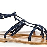 "If open-toed sandals are a ""go"" at your office, try on this sophisticated pair with a knee-length floral-printed chiffon dress. K Jacques St Tropez Gina Patent Leather Sandals ($260)"