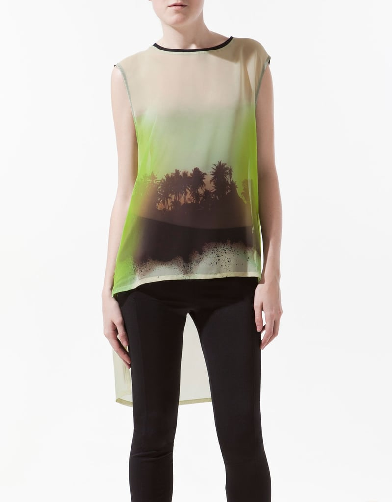 The high-low hemline on this palm tree photo-print tank adds just the right amount of drama to this semisheer top. Zara Palm Tree Print Top ($36)
