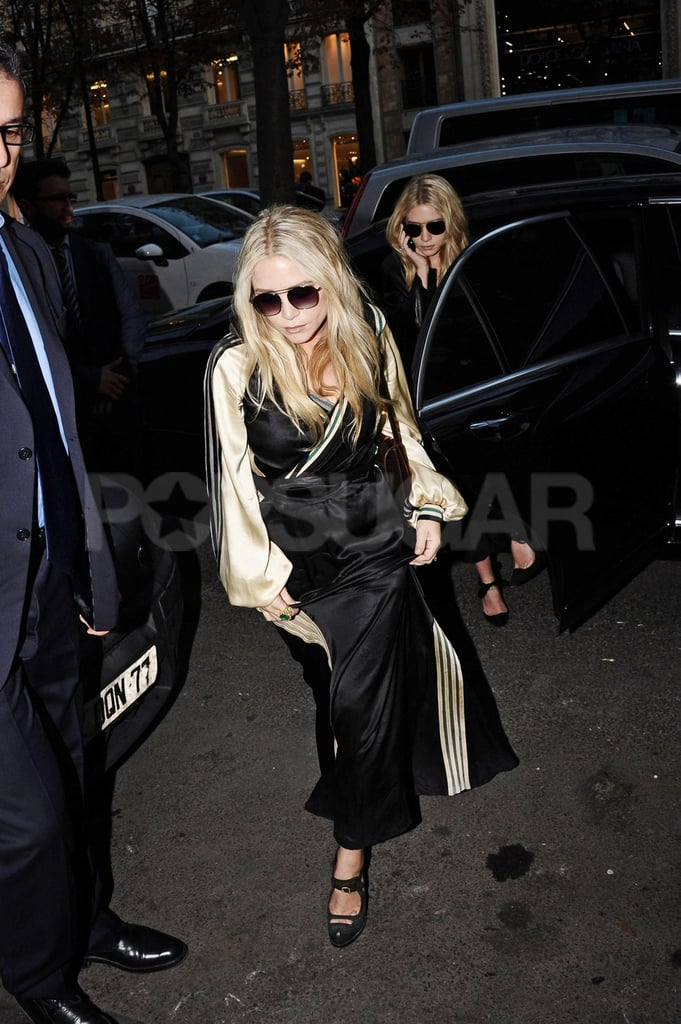 Mary-Kate and Ashley Olsen on their way to an event for Paris Fashion Week.