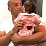 Vin Diesel made it home for Pauline's first Father's Day and captured the superspecial moment.