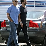 George Clooney on set at the airport in Los Angeles.