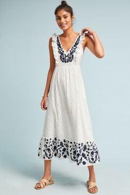 Allison New York Embroidered Eyelet Midi Dress